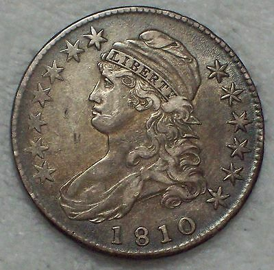 1810 BUST Half Dollar *SILVER* O-105 *RARE* XF+ Detailing Authentic Colonial 50C