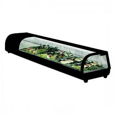 Curved Glass Sushi Showcase 4x 1/3 GN Pans Included Cold Counter Fridge Display
