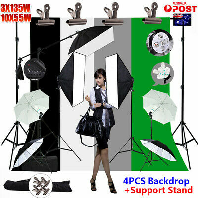 4X Backdrop Support 5 HEAD Softbox Studio Lighting Stand Video KIT+5XReflector