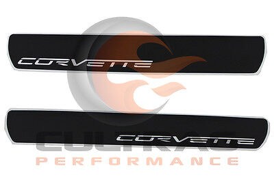 2005-2013 C6 Corvette Genuine GM Door Sill Plates Corvette Script Logo 17802221