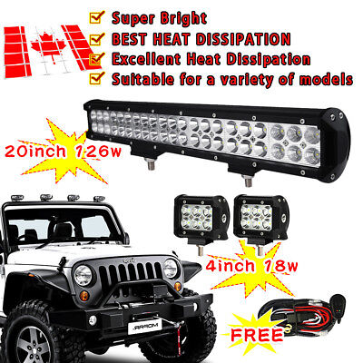 20inch 126W LED Work Light Bar CREE Flood Spot Combo SUV Off Road UTE Jeep 4WD