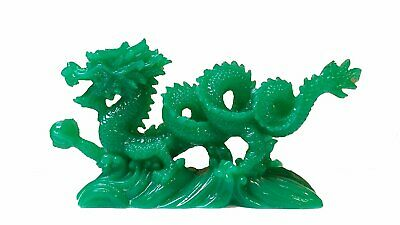 """JADE COLOR Chinese Feng Shui Dragon Figurine Statue for Luck & Success 6"""" LONG"""