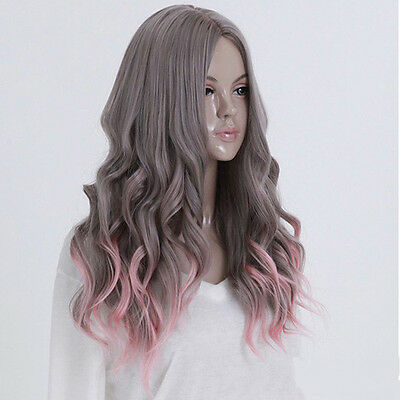 Women's Gray Pink Ombre Hair Cosplay Party Wig Wavy Curly Full Long Costume Wigs