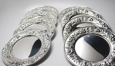 Kirk Repousse Sterling Bread and Butter Plates Set of 8