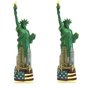 "set of 2 x 6"" Statue of Liberty Figurine w.Flag Base and New York City SKYLines"