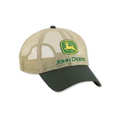 John Deere *beige & Green* All Full Mesh *trademark Logo* Cap Hat *brand New*
