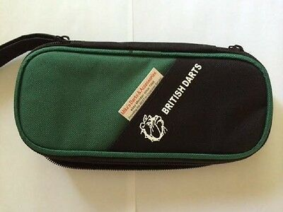 Dark Green Large Zipper Dart Case With Plastic Insert To Hold Fully Loaded Darts
