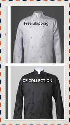 NEW Traditional Men Ladies Chef Long Jacket Restaurant Hospitality Black White