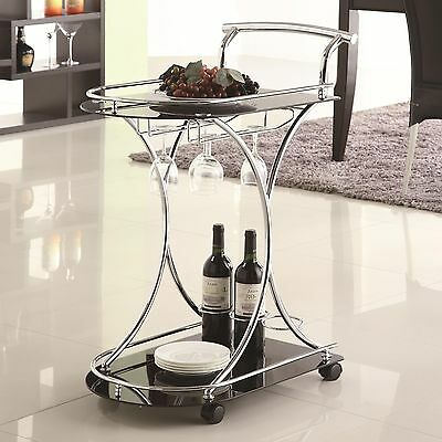 Metal Rolling Serving Cart Tray Chrome Glass Tea Utility Table Storage Kitchen