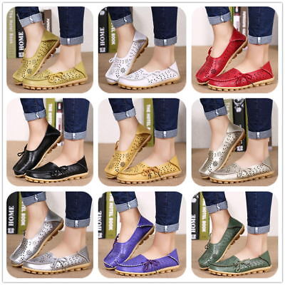 Womens Casual Shoes Hollow Out Carving Leather Driving Moccasin Flat Loafers