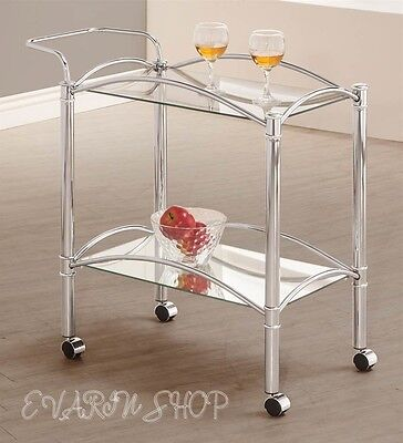 Rolling Serving Cart Tray Table Glass Chrome Metal Bar Beverage Wine Tea Drink
