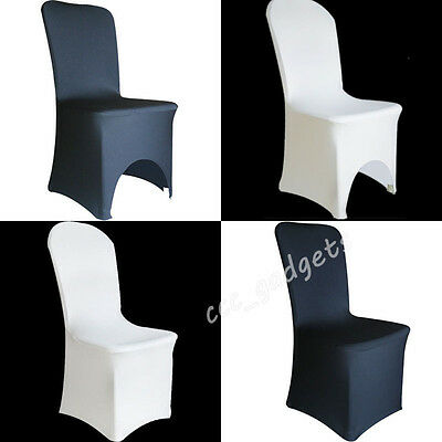 2-100pcs FLAT ARCHED FRONT Spandex Lycra Chair Seat Cover Wedding Banquet Party