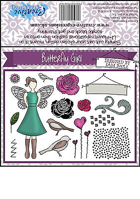 Creative Expressions Unmounted Rubber Stamps - Butterfly Girl A5