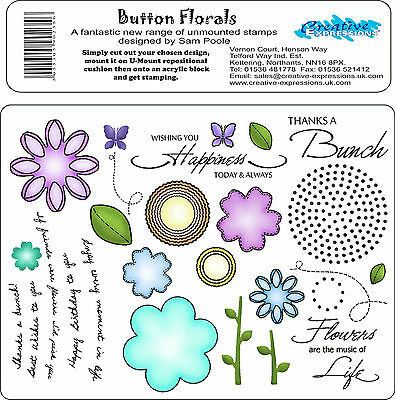 Creative Expressions Unmounted Rubber Stamps - Button Florals