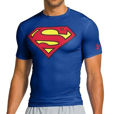 Under Armour Alter Ego Compression SS Tee Superman blau/rot - Fitnessshirt