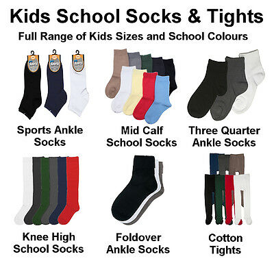 Premium Cotton School Socks, Knee High & Tights, All Sizes, 6 Pairs in 9 Colours