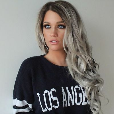 "16-26""Heat resistant Lace front wig Synthetic hair Body wavy Ombre 1B/Gray color"