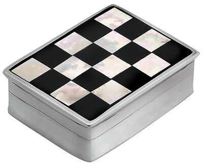 Onyx And Mother Of Pearl Checked Pillbox Silver 925 Hallmarked From Ari D Norman