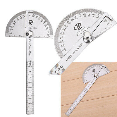 Stainless Steel 180 Degree Protractor Gauge Angle Finder Rotary Measuring Ruler