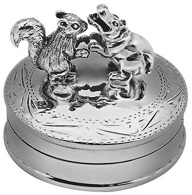 Dancing Hippo And Squirrel Pillbox Silver 925 Hallmarked New From Ari D Norman