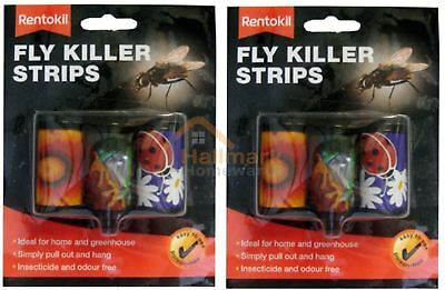 2 x Rentokil Attractive Odour Free Fly Killer Strips Pack Of 3