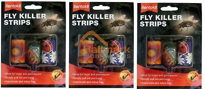 3 x Rentokil Attractive Odour Free Fly Killer Strips Pack Of 3
