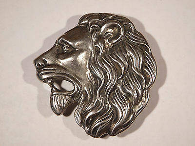 Vintage Lions Head Belt Buckle - Metal, Mid-1970s, Rasta