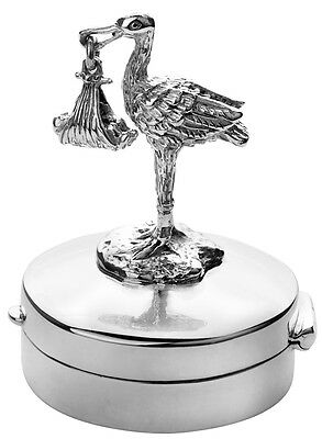 Stork And Baby Pillbox Sterling Silver 925 Hallmarked New From Ari D Norman