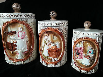 1978 Vintage Retro Sears Roebuck and Co. Canister Set 3 pce Gingham Girls