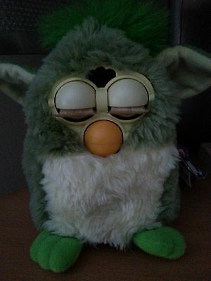 Vintage 1999 Rare Green and Yellow Furby 70-800 with Tag