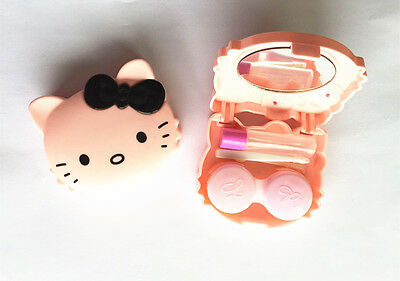 Lovely Cute Colorful CAT Mini Contact Lens Case travel box HIGH QUALITY