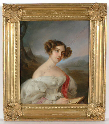 """Leopold Fertbauer (1802-1875)-Attrib. """"Portrait of a young lady"""", oil on tin"""