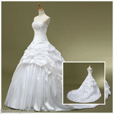 White ivory Lace Bridal Gown beach Wedding Dress Custom Size 6 8 10 12 14 16 18