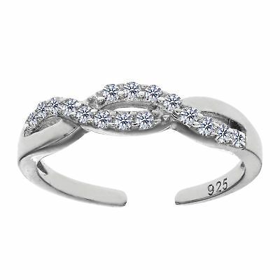 925 Sterling Silver Rhodium Plated Infinity CZ Toe Ring