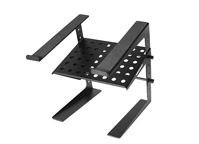 NEW! APLTS-160 Adjustable Stand-Alone Tabletop Laptop DJ Stand with Shelf- Black