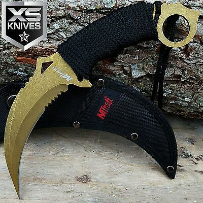 "10"" MTECH Tactical COMBAT NECK Fixed Blade Knife SURVIVAL Karambit CLAW GOLDEN"