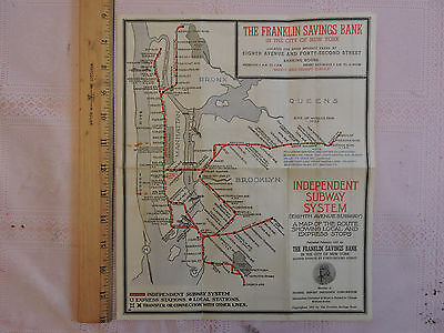 RARE 1937 New York City Subway Map NYC * IND * IND * 1933  Brooklyn Manhattan