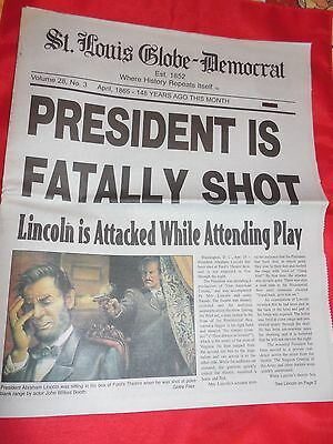 Historical Newspaper Chronicle  Lincoln Shot Dead