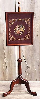 Antique Victorian Queen Anne Floral Needlepoint & Mahogany Fire Screen c. 1900