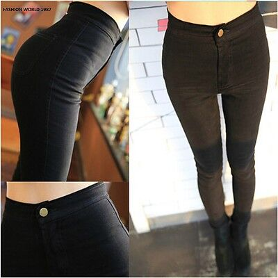 New LADIES WOMEN HIGH WAISTED SEXY SKINNY JEANS PANTS SIZE 4 6 8 10 12 14 16