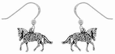Jewelry Trends Sterling Silver Small Celtic Knotwork Horse Dangle Earrings