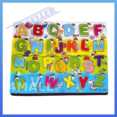 Kids Girls Boys Educational Wooden Puzzle Jigsaw Toy Xmas Gift Letters Alphabet