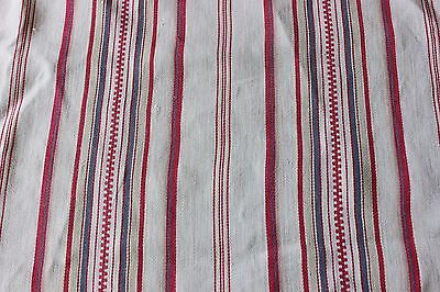 French Farmhouse Antique Mattress Ticking Fabric Yardage c1900Heavy Cotton/Linen
