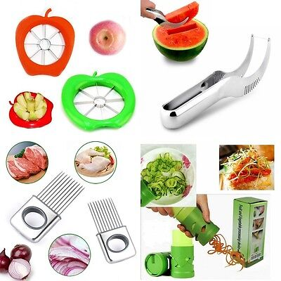Apple Watermelon Onion Vegetable Cutter Holder Slicer Kitchen Tool Stainless