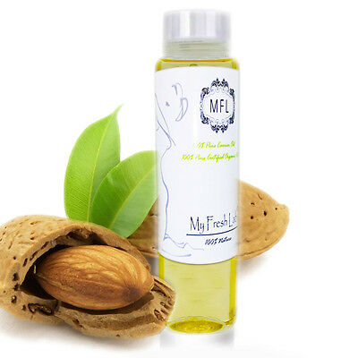 100% PURE ORGANIC SWEET ALMOND OIL COLD PRESSED REFINED 2 oz H