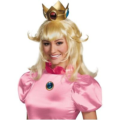 Princess Peach Wig Adult Super Mario Costume Womens Halloween Fancy Dress