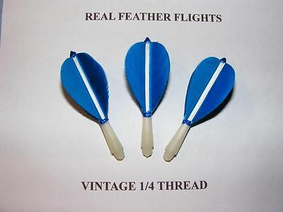 1/4 Inch Thread Short Blue Hand Made Feather Flights