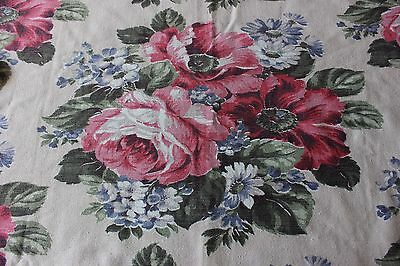 Lovely Cottage Cabbage Rose Genuine Vintage Barkcloth Fabric Material c1940