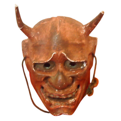 AA12 Demon Omen Mask With Stripe With Crack Dirt The Corner Japanese Antique