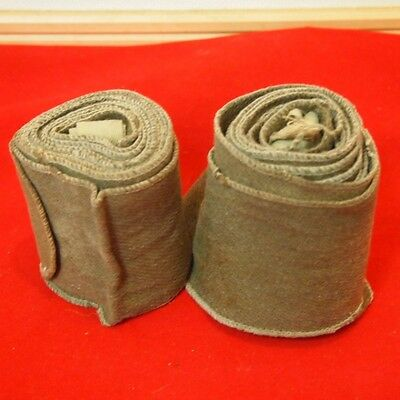 AA16 Gaiter Khaki Dirt pair Left And Right Japanese Antique Military 02